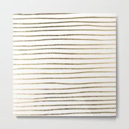 White minimalist faux gold elegant modern stripes Metal Print