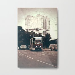Tram on the street Metal Print