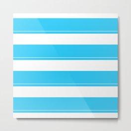 Aqua Teal- Maritime Aqua Teal Stripes Pattern - Mix & Match Metal Print