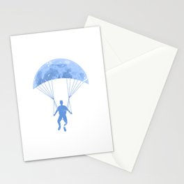 Paragliding By The Moon Stationery Cards