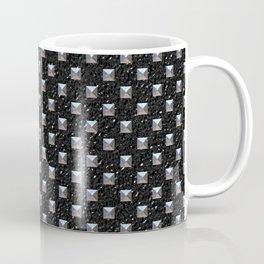 Metal Studs on Black Leather Coffee Mug