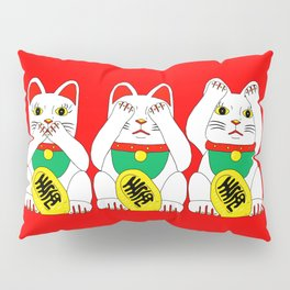 Three Wise Lucky Cats on Red Pillow Sham