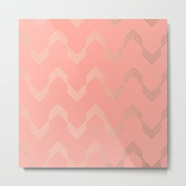 Simply Deconstructed Chevron White Gold Sands on Salmon Pink Metal Print