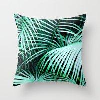 palms Throw Pillows featuring Palms by Karen Hofstetter