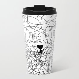 The lines of Love - White version. Metal Travel Mug