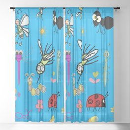 Adorable Bugs and Flowers on Blue Background Sheer Curtain