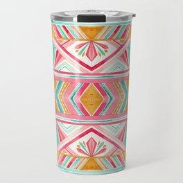 Spring Gems // Pink Gold and Turquoise Geometric Pattern Travel Mug