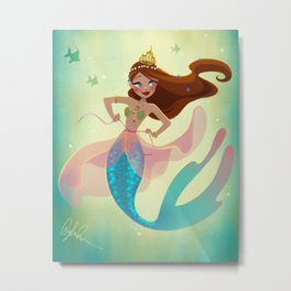 Mermaid Playing Dress-Up Metal Print