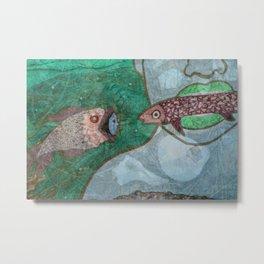 Marine Encounters [Blue Version with Seashells] Metal Print