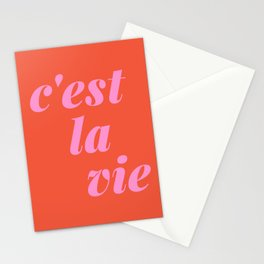 C'est La Vie French Language Saying in Bright Pink and Orange Stationery Cards
