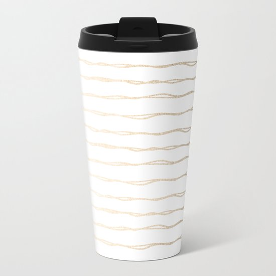 Simply Wavy Lines in White Gold Sands on White Metal Travel Mug