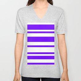 Mixed Horizontal Stripes - White and Indigo Violet Unisex V-Neck