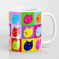 shiba Mugs featuring Pop art shiba  by Sylwia Borkowska
