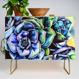 Watercolor Succulents art painting Credenza