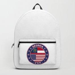 Georgia, Georgia t-shirt, Georgia sticker, circle, Georgia flag, white bg Backpack