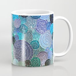 Abstract blue & green glamour glitter circles and polka dots for ladies Coffee Mug