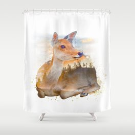 Sitting Deer Landscape Watercolor Shower Curtain