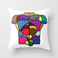 Throw Pillows featuring Adam by Paco Dozier