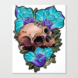 Skull and Roses Canvas Print