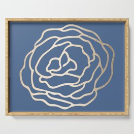 Flower in White Gold Sands on Aegean Blue Serving Tray