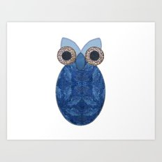 The Denim Owl Art Print