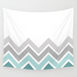 WHITE/ TEAL CHEVRON FADE Wall Tapestry