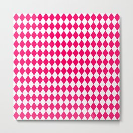Hot Neon Pink and White Harlequin Diamond Check Metal Print