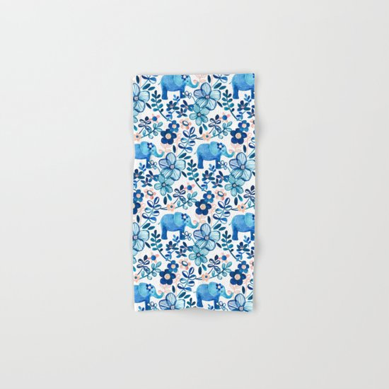 Blush Pink, White and Blue Elephant and Floral Watercolor Pattern Hand & Bath Towel