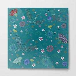Green Japanese kimono pattern Metal Print