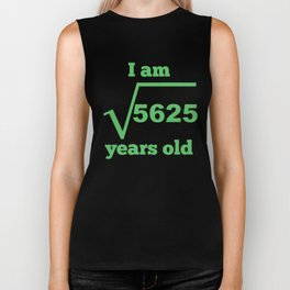 I Am 75 Years Old Square Root 75th Birthday Biker Tank