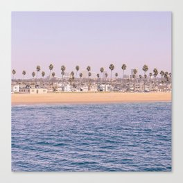 Vintage Newport Beach Print {2 of 4} | Photography Ocean Palm Trees Magenta Tropical Summer Sky Canvas Print