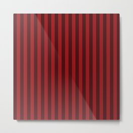 Carmine Red Stripes Pattern Metal Print