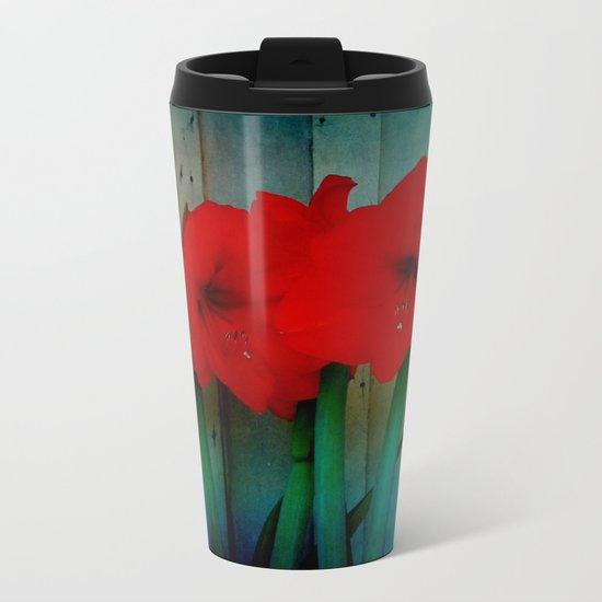 Red Lily Metal Travel Mug