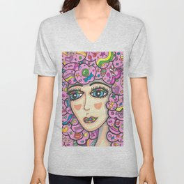 Cotton Candy Hair Girl Unisex V-Neck