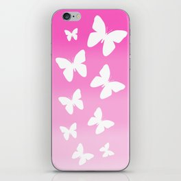 Pink Butterfly Ombre Fade iPhone Skin