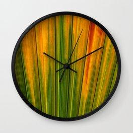 Orange And Green Palm Tree Leaf Wall Clock