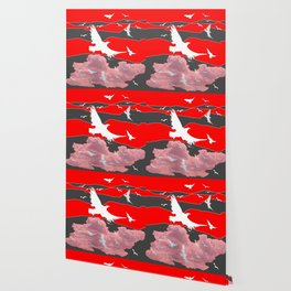 WHITE BIRDS IN FLIGHT RED-GREY SKY ABSTRACT Wallpaper