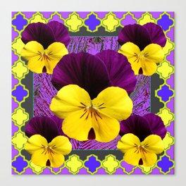Yellow-Purple Violas Pattern Art Canvas Print