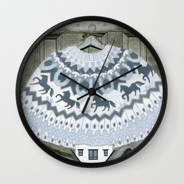 Sweater with Horses Wall Clock