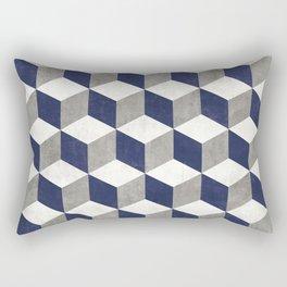 Geometric Cube Pattern - Concrete Gray, White, Blue Rectangular Pillow
