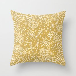 Graphic Ink Doodles (gold) Throw Pillow