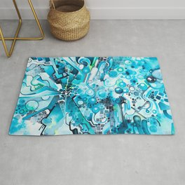 Water Crystals - Abstract Geometric Watercolor Painting Rug