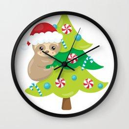 Christmas Sloth Santa Hat Sloth Climbing on a Christmas Tree Wall Clock