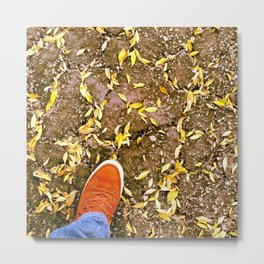 foot in the driveway with leaves Metal Print