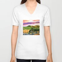 the lord of the rings V-neck T-shirts featuring Lord of the Rings Hobbiton by KS Art & Design