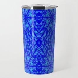 Blue on Blue Floral Pattern Travel Mug
