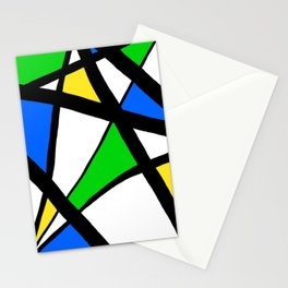 China Blue, Apple Green and Sunshine Yellow Abstract Stationery Cards