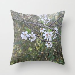 Almond tree branches and flowers Throw Pillow