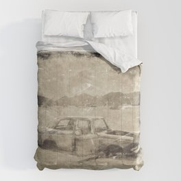Old Wreck Car Photograph Comforters