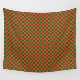 Large Red and Green Christmas Gingham Check Tartan Plaid Wall Tapestry